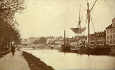 Uppsala, Uppland, Sweden      c1860's Anchored boats in Fyris River, at the harbour downstream of Islandsbron (Iceland Bridge).