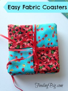 Easy Fabric Coasters - these coasters take only a short amount of time to make. You can use a Charm pack or scraps! Great for yourself or as gifts.