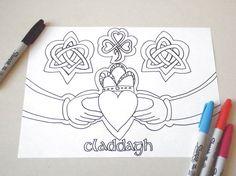 claddagh coloring valentines day card love gift engagement ring irish celtic knot friendship ring wedding ireland digital lasoffittadiste