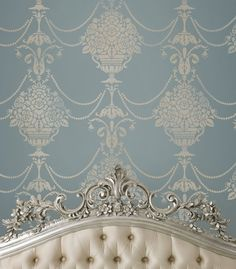 Try Damask stencils instead of pricey damask wallpaper! Our damask stencils are easy to use and very cost effective. Classic stencils, damask stencil patterns, wallpaper stencils for DIY decor. Damask Stencil, Stencil Patterns, Stencil Walls, Damask Wall, Beautiful Bedrooms, Beautiful Homes, Cutting Edge Stencils, French Blue, French Chic
