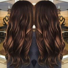 60 Chocolate Brown Hair Color Ideas for Brunettes dark brown hair with caramel babylights Chocolate Brown Hair Color, Chocolate Hair, Brown Hair With Highlights, Brown Hair Colors, Asian Highlights, Color Highlights, Balayage Highlights, Peekaboo Highlights, Natural Highlights