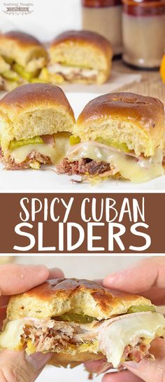 These Spicy Cuban Sliders are the perfect little handful of flavor. The shredded pork, ham and swiss cheese come together to make one delicious warm and cheesy slider! Bonus: they're super easy to make and are perfect for lunch or dinner.