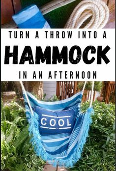 How to make a hammock in an afternoon. Easy DIY #HammockDIY #ThrowRepurose #ACraftyMix #SummerTime #EasyDIYTutorial Diy Craft Projects, Craft Tutorials, Decor Crafts, Garden Projects, Project Ideas, Garden Ideas, Diy Crafts, Beautiful Mess, Beautiful Gardens