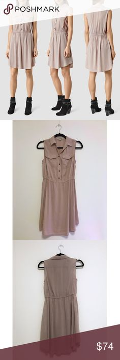 All Saints Itaca Dress US 2 Pink original $298 All Saints Itaca Dress US 2 Pink original $298  In great condition ! Refer to model for style & fit (;   Join the style ranks in ALLSAINTS's fluid utility dress, featuring chest pockets and a surplus-inspired hue in a nod to the season's military mood.  * Designed for a slim fit * Point collar, sleeveless, two chest flap pockets * Elasticized waist, curved hem, pullover style * Viscose * Dry clean * Imported All Saints Dresses