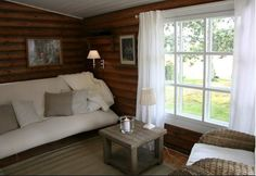 Ideas for summer home Scandinavian Cottage, Cabin Interiors, House With Porch, White Cottage, Log Homes, Fixer Upper, Interior Decorating, Interior Ideas, Sweet Home