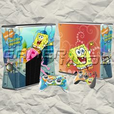 Spongebob XBOX 360 Skin Set - Console with 2 Controllers