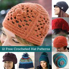 Keep Cozy: 12 Free Crochet Hat Patterns - diycandy.com