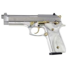 9mm steel handgun | Taurus PT92 9mm Pistol - 10rd Pearl/Stainless Steel/Gold TI920159PRL