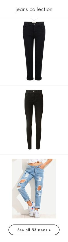 """""""jeans collection"""" by hermine-fragonn ❤ liked on Polyvore featuring jeans, pants, bottoms, calças, clothing - trousers, washed black, low jeans, boyfriend cropped jeans, slim fit jeans and slim cut jeans"""