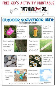Free Outdoor Scavenger Hunt Printable