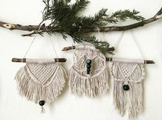 I made 3 designs for the mini's, now I just have to make 6 more  #macrame #macramewallhanging #wallhangings #knots #rope #mini #keychain #caraccessories #accessories #boho #bohemian #homedecor #hippie #favors #weddinginspiration #wedding #weddingfavors #babyshower #babyshowerfavors #party #gifts #handmade #handcrafted #bride #etsyseller #candaleria #local #oklahomacity #oklahoma