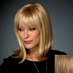 Long Natural Straight Layered Full Bang Affordable Stylish 100 Percent Human Hair Wig For Women