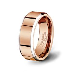 Mens Wedding Band Two Toned Rose Gold Tungsten por TungstenOmega