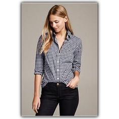 "Gap fitted navy gingham boyfriend fitted size S Across the chest 19"". Top to bottom 27.5"". 100% cotton. GAP Tops Button Down Shirts"