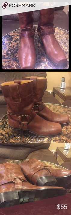 Leather boots made in Brazil 🇧🇷 Beautiful leather boots 6.5 distressed small heel beautiful must have boots great with jeans.they look like a frye but not sure Shoes Ankle Boots & Booties