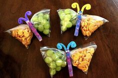 Butterfly Zip Lock Snacks  These adorable butterfly snacks are made from everything you already have in your kitchen! A snack bag makes up the butterfly wings while the body is made from laundry clips. Let your children paint the clips in bright colors and stick on pipe cleaner to make the antenna.