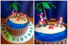 """Jake and the Neverland Pirates"" Birthday Cake. Chocolate cake with buttercream icing, KitKats around the outside, crushed Girl Guide biscuit sand, blue gel writing pen water and modelling chocolate palm tree, with Cadbury Chocolate Drops ""treasure"" inside the cake. #imadethis #mine #kitkatcake"