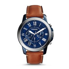 Fossil Men's FS5151 Grant Chronograph Blue Dial Brown Leather Watch by Fossil
