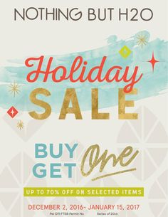 This holiday just keeps on getting better and better!  Check out Nothing But H2O Holiday SALE!  Starting this weekend, you can get a FREE item with your purchase on ANY of Nothing But H2O participating brands - just for pay the higher price!  Plus, enjoy up to 70% OFF on great selection of items!  For more promo deals, VISIT http://mypromo.com.ph/!