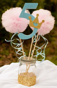 Princess Party Centerpiece Pink and Blue Party Centerpiece Table Decoration