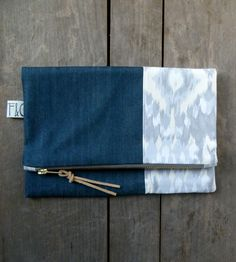 Ikat & Denim Foldover Clutch