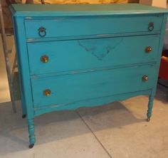 Dresser painted in Annie Sloan Florence and a touch of copper gilding wax.