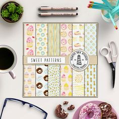 Cupcake Digital Paper -  http://etsy.me/2ejIKRI This listing includes sweet digital paper with cupcakes, donuts and gold patterns.
