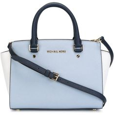 Michael Michael Kors Medium Selma Tote (1.425 RON) ❤ liked on Polyvore featuring bags, handbags, tote bags, purses, blue, blue tote, hand bags, man bag, blue tote bag and blue leather purse