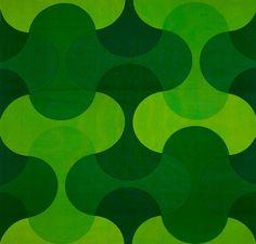 print Design Puzzle I By Verner Panton. Retro Pattern, Green Pattern, Pattern Art, Pattern Design, Print Design, Motif Vintage, Vintage Patterns, Retro Wallpaper, Pattern Wallpaper