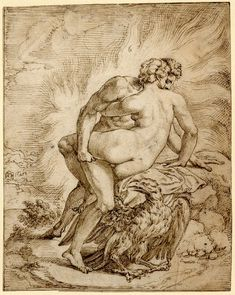Michiel Coxie - Jupiter making love to Aegina, 16th century. Pen and brown ink, indented for transfer.
