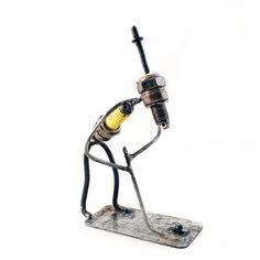 Putting Golfer Recycled Spark Plug Metal Sculpture – The Barrington Garage Lead Edge, Spark Plug, Plugs, Repurposed, Recycling, Sculptures, Garage, Artisan, Home Appliances