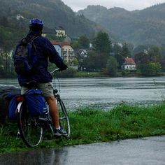 Where is the Blue Danube? Unbelievably wet windy and grey for the start of my trip  cycling down the Danube to Vienna.