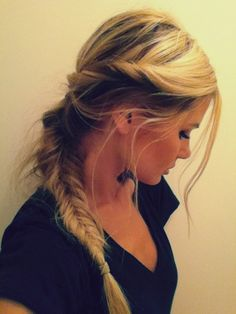 Twists with messy fishtail : twist sides, bobby pin. pull hair in a pony, take out bobby pins. fishtail pony