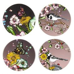 Wagtails spring rosa - glasunderlägg 9 cm
