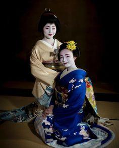 "geisha-kai: ""March 2017: geiko Satsuki and her sister maiko Marika of Gion Kobu by yoshi.rcz on Instagram """