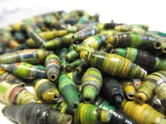 500 Green Hand Rolled Paper Beads Green by NyakaGrandmotherShop