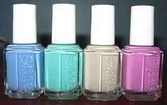 Essie Resort Collection: L-R Lapis of Luxury, Turquoise & Caicos, Playa Del Platinum, Splash of Grenadine