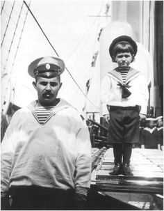 Derevenko and a tiny Alexei. So sweet!  This sailor was Alexei's caregiver, watching out for the boy and carrying him places when he suffered complications of his hemophilia.