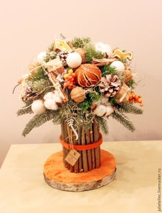 Купить Апельсиновый букет - оранжевый, зимний букет, европейская флористика, апельсины, зимний подарок