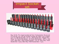 Buy 1/2 Dr.impact socket set from Techprotools,30 Pcs set at just $145 also you can get various socket within your budgets. #Impact socket #Budgets