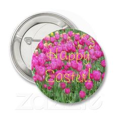 Pink Tulips Easter Button