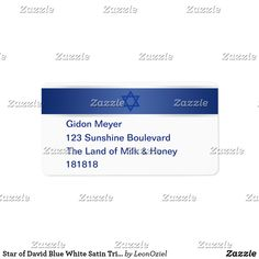 Star of David Blue White Satin Trim Address Return Label Return Labels, Custom Address Labels, Star Of David, Personalized Stationery, White Satin, How To Be Outgoing, Blue And White, Writing, Words