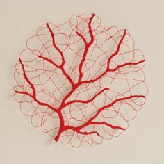 'Small Lace Coral' (2014) by Australian fiber artist Meredith Woolnough. Embroidery thread, pins & glass rods on paper, 40 x 40 cm. via the artist's blog