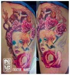 Fox and girl face with roses custom tattoo by Balázs Vadócz at Creation by Vadócz Tattooshop