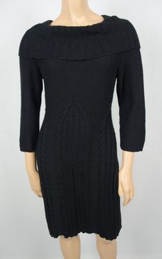 SLEEPING ON SNOW Anthropologie Black Cable Knit Dress S Cowl 3/4 Sleeve Business