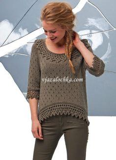 Женский пуловер с кружевом
