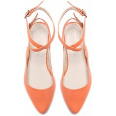 SALE 50% Discount Women's Peach Pointed Flat Closed Sandal // US sizes... (€90) ❤ liked on Polyvore featuring shoes, flats, heels, sapatos, pointed toe shoes, leather flat shoes, leather shoes, flat pumps and peach flats