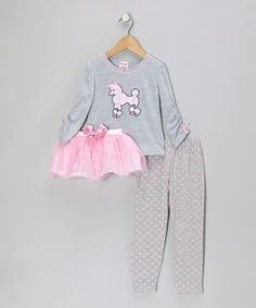 Take a look at this Gray & Pink Poodle Top Set - Toddler & Girls by Kids Apparel Club on #zulily today!