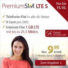 Simkarten-Aktionen.de: Telefonie-Flat inkl. 1 GB LTE - nur 9,95€ mtl.