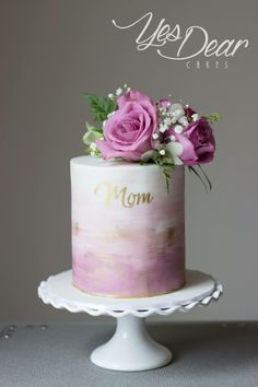 Elegant Birthday Cakes, 50th Birthday Cake For Women, 90th Birthday Cakes, Happy Birthday Mom Cake, Birthday Cake For Women Elegant, Pretty Cakes, Beautiful Cakes, Buttercream Birthday Cake, Watercolor Cake